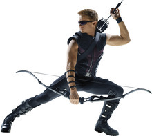 Jeremy Renner as Hawkeye in the superhero movie,