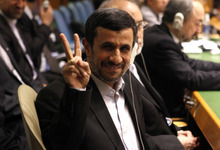 Mahmoud Ahmadinejad, President of Iran, gestures as he arrives at his seat before addressing the 67th session of the United Nations General Assembly at U.N. headquarters, Wednesday, Sept. 26, 2012. (AP Photo/Jason DeCrow)