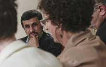 Iranian President Mahmoud Ahmadinejad listens during an exclusive interview with Associated Press editorial staff during his visit for the 67th session of the United Nations General Assembly on Tuesday, Sept. 25, 2012 in New York.  (AP Photo/Bebeto Matthews)