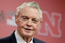 Nebraska athletic director Tom Osborne jokes about his health as he announces his retiring as of Jan. 1, during a news conference held in Lincoln, Neb., Wednesday, Sept. 26, 2012. The 75-year-old Osborne said
