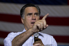 Republican presidential candidate, former Massachusetts Gov. Mitt Romney speaks during a campaign rally, Wednesday, Sept. 26, 2012, in Westerville, Ohio.  (AP Photo/ Evan Vucci)