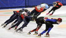 Utah Olympic Oval FAST Team members skate during practice for the U.S. Single Distance Short Track Speedskating Championships, Monday, Sept. 24, 2012, in Kearns, Utah. Fourteen current members of the national team, including 2010 Olympic medalists Allison Baver, J.R. Celski, Travis Jayner and Jordan Malone, initially signed a grievance alleging they were abused verbally, physically and psychologically by head coach Jae Su Chun. (AP Photo/Rick Bowmer)