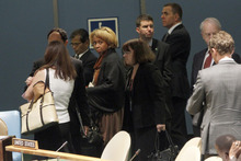 Members of the U.S. delegation leave the room before Iran's President Mahmoud Ahmadinejad addresses the 67th session of the United Nations General Assembly at U.N. headquarters, Wednesday, Sept. 26, 2012.  (AP Photo/Mary Altaffer)