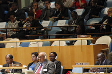 The Israeli delegation's desk is empty as Iran's President Mahmoud Ahmadinejad addresses the 67th session of the United Nations General Assembly at U.N. headquarters, Wednesday, Sept. 26, 2012.  (AP Photo/Mary Altaffer)