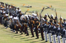 South Korean honor guard soldiers perform during a rehearsal for upcoming the 64th anniversary of Armed Forces Day at the Gyeryong military headquarters in Gyeryong, South Korea, Tuesday, Sept. 25, 2012. South Korea will celebrate the 64th Armed Forces Day on Oct. 1. (AP Photo/ Ahn Young-joon)