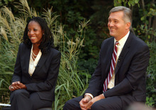Steve Griffin | The Salt Lake Tribune   GOP challenger Mia Love and Democratic Congressman Jim Matheson answer questions from a panel during television debate hosted by KUTV Channel 2  on Main street in Salt Lake City, Utah Wednesday September 26, 2012.