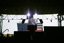President Barack Obama speaks at a campaign event at Farm Bureau Live, Thursday, Sept. 27, 2012, in Virginia Beach, Va. (AP Photo/Pablo Martinez Monsivais)