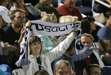 Paul Fraughton | Salt Lake Tribune A BYU soccer fan holds up her  team's scarf. BYU played Utah Valley University at BYU's field.   Thursday, September 27, 2012