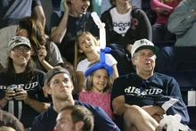 Paul Fraughton | Salt Lake Tribune Fans of all ages fill the bleachers at BYU's soccer field. BYU played Utah Valley University at BYU's field.   Thursday, September 27, 2012