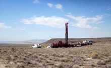 Utah Geological Survey photo  Drilling rig on the geothermal site in Utah's west desert
