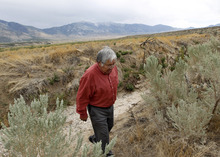Al Hartmann    The Salt Lake Tribune Ed Naranjo, chairman of the Confederated Tribes of the Goshute Reservation, walks down a dry stream bed on the west side of the Deep Creek Mountains.  The creek normally runs dry in the summer months but this year didn't flow at all. Western Utah has experienced the driest 12 months in history this year despite the monsoonal rain in July and August.  It has affected farmers, ranchers and wildlife.