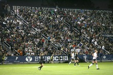 Paul Fraughton | Salt Lake Tribune  A packed  stadium watches the BYU women's soccer team.BYU played Utah Valley University at BYU's field.   Thursday, September 27, 2012