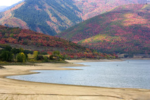 Paul Fraughton | The Salt Lake Tribune The large expanse of sand along the shore of Pineview Reservoir  shows off the low water level due to a drier than normal water year.   Wednesday, September 26, 2012