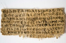 This Sept. 5, 2012 photo released by Harvard University shows a fourth century fragment of papyrus that divinity professor Karen L. King says is the only existing ancient text that quotes Jesus explicitly referring to having a wife.  King, an expert in the history of Christianity, says the text contains a dialogue in which Jesus refers to
