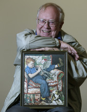 Tom Paquin of North Bennington, Vt., poses with a1950 Saturday Evening Post cover illustration by Norman Rockwell for which he modeled at the Bennington Museum on Friday, Sept. 28, 2012, in Bennington, Vt. (AP Photo/Mike Groll)