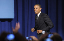 President Barack Obama arrives to speak at a campaign event in Washington, Friday, Sept. 28, 2012, (AP Photo/Susan Walsh)