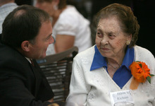 Steve Griffin  |  The Salt Lake Tribune 106-year-old Hilda Richins, of Salt Lake City, visits with Gov. Gary R. Herbert during the 26th Annual Centenarians Day Celebration at Noah's Reception Center in South Jordan,  Friday September 28, 2012.