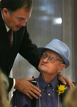 Steve Griffin  |  The Salt Lake Tribune 101-year-old Lyle Glines, of South Jordan, chats with Gov. Gary R. Herbert during the 26th Annual Centenarians Day Celebration at Noah's Reception Center in South Jordan, Friday September 28, 2012.