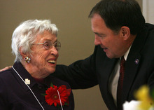 Steve Griffin  |  The Salt Lake Tribune 103 year-old Louise Calder, of Salt Lake City, smiles as she chats with Gov. Gary R. Herbert during the 26th Annual Centenarians Day Celebration at Noah's Reception Center in South Jordan,  Friday September 28, 2012.