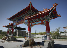 Rick Egan  |  The Salt Lake Tribune  A Chinese gate sponsored by the Chinese Heritage Foundation of Utah is shown underconstruction at the Utah Cultural Celebration Center in West Valley City. The 48-foot-long gate has been built with private money,