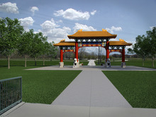 Illustration by Brent Bowen An illustration of the Chinese Heritage Gate to be built at the Utah Cultural Celebration Center. The gate will be a symbol of friendship between West Valley City and Nantou, Taiwan.