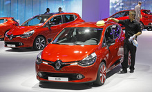 Partial view of the Renault stand, with the new Clio at foreground, on the eve of the opening of the Paris Auto Show, Friday Sept. 28, 2012. The Paris Auto Show will open its gates to the public from Sept. 29 to Oct. 14.(AP Photo/Remy de la Mauviniere)