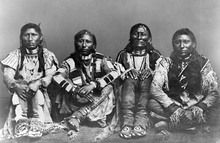 Left to right: Ni-co-rod or Green Leaf, Pe-a-oh or Black-Tail Deer, Chip-pin or Always Riding, Shu-ri-pi or Lodge Pole's son, of Ute Indian Tribe, 1868. Courtesy Utah Historical Society
