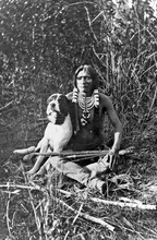 A young Ute Indian warrior and his dog. Uintah valley, eastern slope of the Wasatch Mountains, Utah. Photo by J.K.Hillers, Powell Expedition, 1873. Courtesy Utah Historical Society