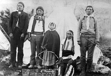 Ute Indian Red Cap, seated, was a member of the White River Band of Utes. He was one of the men who led the Utes to South Dakota in 1906. This photograph was taken in 1907, when he was one of the most important Ute leaders. Courtesy Utah Historical Society