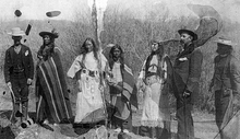 Ute Indians in Myton, Utah. Third from the right is Sallie Calvert. She and her husband ran the Whiterocks Trading post. Courtesy Utah Historical Society