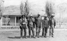 Far right, Chief Polk and next to him Chief Posey along with (Left to right) Tse-ne-gat (Chief Polk's son), Posey's son and an interpreter. Chief Posey played a prominent role in the Polk and Posey War which was one of the last armed conflicts between the United States and native Americans. Between 1881 and 1923 Posey led his braves in several skirmishes against the Navajo and the American settlers It began in March 1914 and was the result of an incident between a Utah shepherd and Tse-ne-gat, the son of the Paiute Chief Polk. It was notable for involving Chief Posey and his band of renegades who helped Polk fight a small guerrilla war against local Mormon settlers and Navajo policemen. The conflict centered around the town of Bluff, Utah and ended in March 1915 when Polk and Posey surrendered to the United States Army. Courtesy Utah Historical Society
