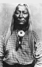 Washakie was Chief of the Shoshone Indians, Wyoming-Utah-Idaho area for 60 years. He was noted for his friendliness to the Whites, and for the success of his people under his chieftainship. Washakie was born in 1804 and died February 20, 1900. He was a friend of Brigham Young and James Bridger. He was given a full U.S. Military funeral. Courtesy Utah Historical Society