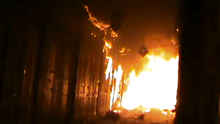 In this image taken from video obtained from Shaam News Network (SNN), which has been authenticated based on its contents and other AP reporting, a fire rages at a medieval souk in Aleppo, Syria. Syrian rebels and residents of Aleppo struggled Saturday to contain a huge fire that destroyed parts of the city's medieval souks, or markets, following raging battles between government troops and opposition fighters there, activists said. Some described the overnight blaze as the worst blow yet to a historic district that helped make the heart of Aleppo, Syria's largest city and commercial hub, a UNESCO world heritage site. (AP Photo/Shaam News Network SNN via AP video)