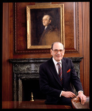 In this 1992 photo, Arthur Ochs Sulzberger poses for a photo in the New York Times boardroom beneath a picture of Arthur Ochs, in New York. In 1896, Ochs acquired control of the New York Times. Former New York Times publisher Sulzberger, who led the newspaper to new levels of influence and profit amid some of the most significant moments in 20th-century journalism, died Saturday, Sept. 29, 2012. He was 86. (AP Photo/The New York Times Archive, Burk Uzzle) MANDATORY CREDIT
