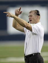 UNLV head coach Bobby Hauck points after Utah State scores in the second quarter of an NCAA college football game Saturday, Sept. 29, 2012, in Logan, Utah.  (AP Photo/Rick Bowmer)