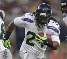 Seattle Seahawks running back Marshawn Lynch runs during the first half of an NFL football game against the St. Louis Rams Sunday, Sept. 30, 2012, in St. Louis. (AP Photo/Tom Gannam)