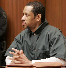 FILE - In this Friday, April 28, 2006 file photo, convicted sniper John Allen Muhammad addresses Judge James L. Ryan during a media preview before the start of his trial in Rockville, Md. Convicted D.C. sniper Lee Boyd Malvo, aka John Lee Malvo, said in a newspaper interview published Sunday, Sept. 30, 2012, that the devastated reaction of a victim's husband made him feel like