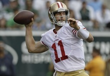 San Francisco 49ers quarterback Alex Smith throws a pass during the first half of an NFL football game against the New York Jets Sunday, Sept. 30, 2012, in East Rutherford, N.J. (AP Photo/Kathy Willens)