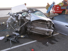Courtesy of Utah Highwaypatrol A Salt Lake County woman was allegedly texting while driving when she slammed her car into the back of a semi truck Saturday September 29th. The Semi was pulled pulled off to the right of Interstate 80 about 25 miles east of the Utah-Nevada border when a 27-year-old woman driving a passenger car hit the truck from behind.