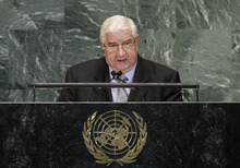 Walid Moallem, Foreign Minister of Syria, addresses the 67th session of the United Nations General Assembly at U.N. headquarters, Monday, Oct. 1, 2012. (AP Photo/Jason DeCrow)