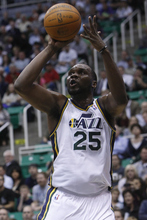 Chris Detrick  |  The Salt Lake Tribune Utah Jazz center Al Jefferson (25) shoots the ball during the first quarter of the game at EnergySolutions Arena Wednesday April 4, 2012. Utah is winning the game 24-21.