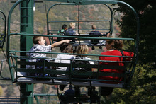 Scott Sommerdorf  |  The Salt Lake Tribune              Fifth graders from Liberty Elementary in Murray took a ride on the ski lift at Sundance Resort, Thursday, September 20, 2012, during their visit to Sundance for a Kids in Nature Program.