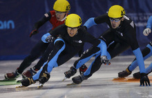 Scott Sommerdorf  |  The Salt Lake Tribune              JR Celski, center, wins the Senior Men's 500 meters A final with a time of 41.096 over Travis Jayner, right. Final day of the U.S. Short-Track Championships, when skaters officially qualify for the U.S. team on the World Cup Circuit, Sunday, September 30, 2012.