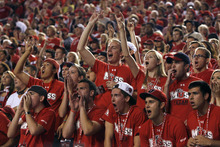Scott Sommerdorf  |  The Salt Lake Tribune              Utah fans cheer as BYU attempts its first of three