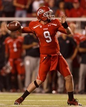 Trent Nelson  |  The Salt Lake Tribune Utah quarterback Jon Hays (9) throws a touchdown pass to tight end Westlee Tonga against BYU  in Salt Lake City on Saturday, Sept. 15, 2012.