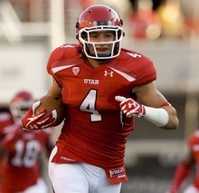 Scott Sommerdorf  |  The Salt Lake Tribune  Utah Utes linebacker Brian Blechen (4) runs with an interception as Utah takes on Montana State at Rice-Eccles Stadium Thursday, Sept. 1, 2011.
