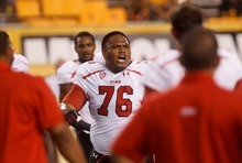 Trent Nelson  |  The Salt Lake Tribune Utah offensive linesman Jeremiah Tofaeono (76) fires up the team as the University of Utah prepares to face Arizona State, college football in Tempe, Arizona, Saturday, September 22, 2012.