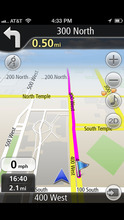 Screenshot of the NavFree GPS Live USA app for the iPhone. Courtesy image