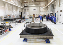 Trent Nelson     The Salt Lake Tribune ATK's Jim Nichols explains the production of nozzle components during a tour after ATK and NASA spoke of savings made in manufacturing the solid rocket boosters for NASA's Space Launch System (SLS) Tuesday October 2, 2012 in Promontory, Utah.