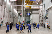 Trent Nelson     The Salt Lake Tribune Members of the media are taken on a tour of the Final Assembly building at ATK, as ATK and NASA announced savings made in manufacturing the solid rocket boosters for NASA's Space Launch System (SLS) Tuesday October 2, 2012 in Promontory, Utah.